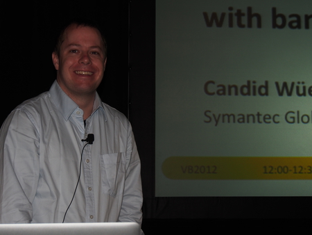 Candid Wüest speaking at VB2012 in Dallas