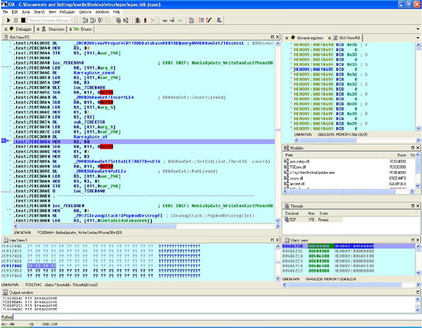 Screenshot of IDA Pro during a remote step debugging of the trojan. In this case, the function is adding a new row to the phone number table of the trojan.