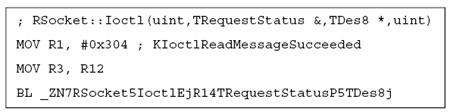 Call RSocket::Ioctl with KIoctlReadMessageSucceeded to indicate the message was processed correctly.