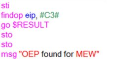 The OllyScript used to unpack MEW.
