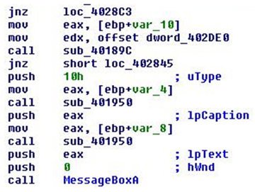 Malware using MessageBox for activation.