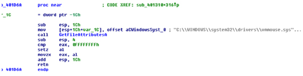 Malware using GetFileAttributeA() to determine the presence of vmmouse.
