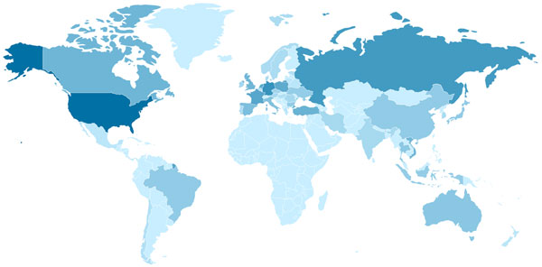 Geographic distribution of infected servers in the larger botnet. Darker blue means more infected servers.