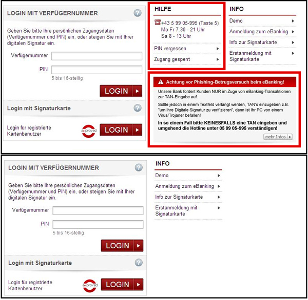Content removal using a webinject. Top: login page as seen on a clean system. Bottom: login page as seen on a compromised system (warnings removed).