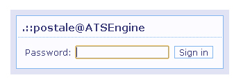 ATS engine administration panel login page.