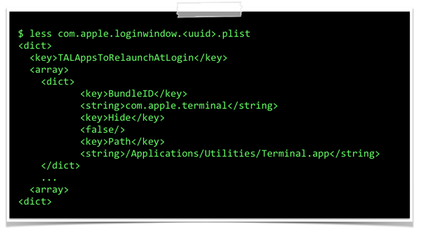 Plist entry of a re-launched application (terminal.app).