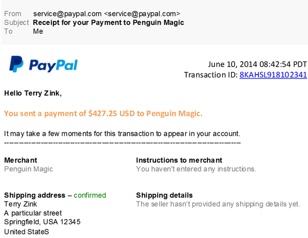 Is this a real message from PayPal about my recent purchase of magic supplies?