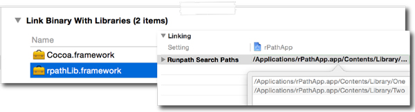 Linking in a @rpath'd dylib and specifying the run path search paths.
