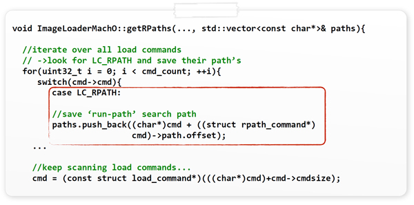 Extracting and saving all embedded run-path search paths.