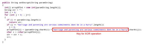 XOR decryption in Android/SaurFtp with a key providing life advice.