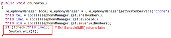 Anti-debugging trick in Android/NickiSpy.B.