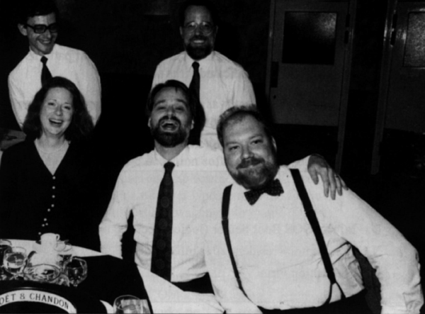 Gala Dinner. (Left to right) Vesselin Bontchev, Helen White, Steve White, John Norstad and Gene Spafford assembled (but executing less quickly than normal).