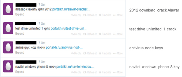 Examples of searchable spam (translations on the right).