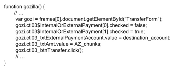 An ATS JavaScript performing wire transfers.